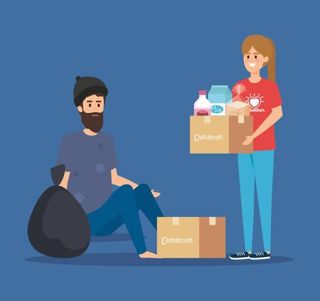 girl volunteer with box donation to indigent vector illustration