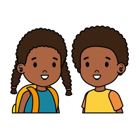 afro little kids couple characters vector illustration design Archivio Fotografico - 126080690