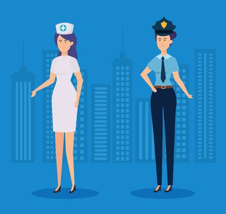 professional nurse and policewoman with cap and uniform vector illustration