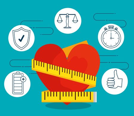heart with measuring tape to lifestyle exercise vector illustration