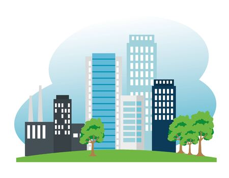 factory and building and trees to ecology conservation vector illustration