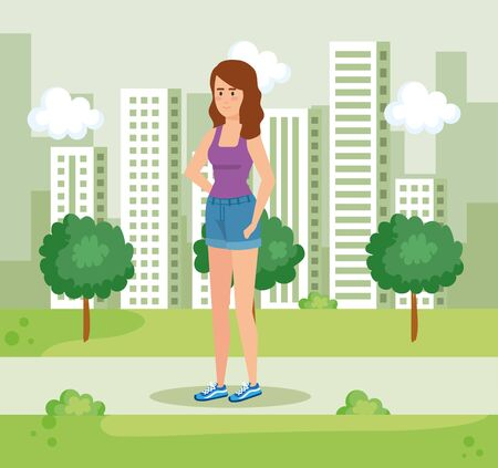 woman with hairstyle and casual clothes in the park vector illustration