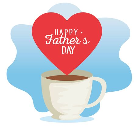 coffee cup with heart card to fathers day celebration vector illustration Иллюстрация