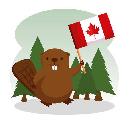 beaver with canada flag and pines trees vector illustration