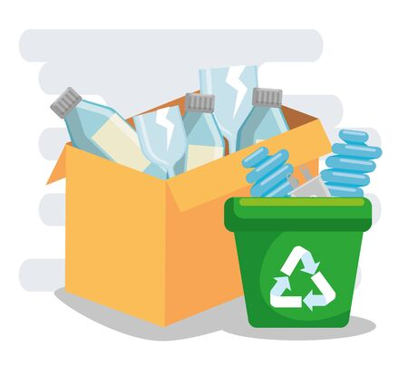 box and recycle trash with plastic bottles and save bulbs vector illustration 向量圖像