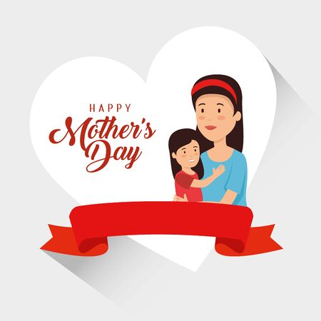 woman with her daughter and ribbon to mothers day vector illustration
