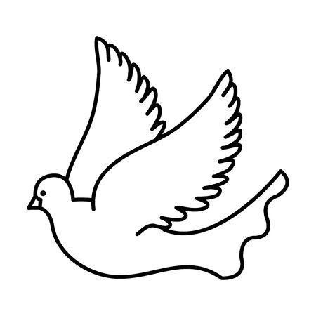 Belle colombe oiseau qui vole icône vector illustration design