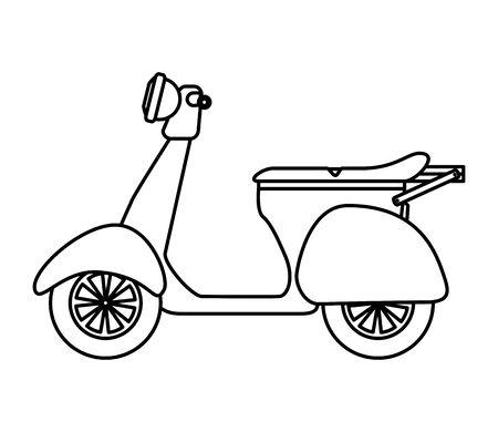Moto scooter con cajas de servicio de entrega, diseño de ilustraciones vectoriales