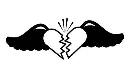 broken heart and wings pop art elements vector illustration