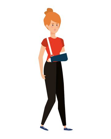 woman with plastered arm vector illustration design