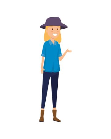 tourist woman with hat character vector illustration design Illustration
