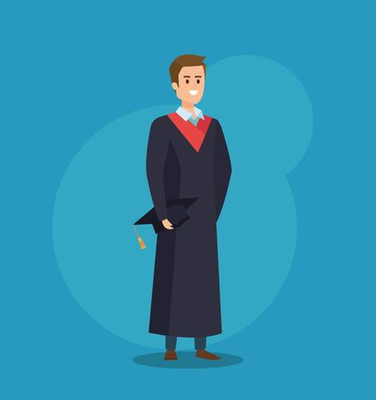 man univerity graduation with rope and cap vector illustration Vectores