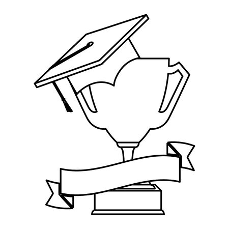 hat graduation with trophy cup vector illustration design Çizim