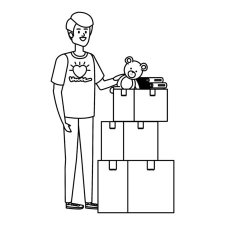 young man volunteer with donations boxes vector illustration design