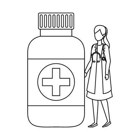 female doctor with stethoscope and bottle drugs vector illustration design