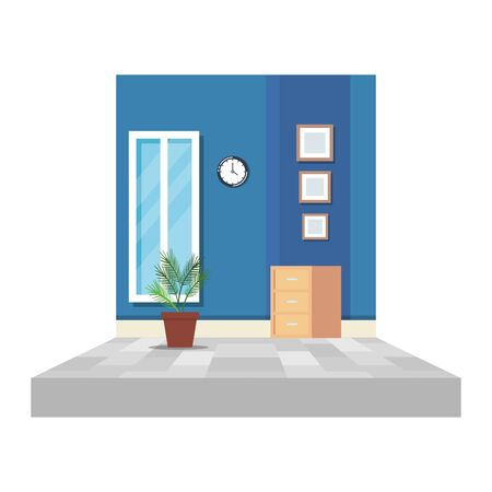 office corridor with houseplant and drawer vector illustration design