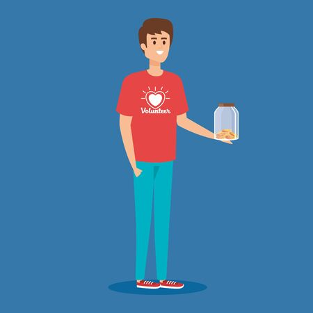 boy volunteer with moneybox and coins donation vector illustration