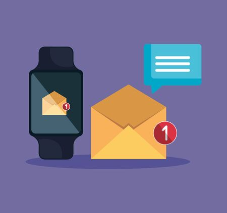 smartwatch technology with letter app and chat bubble vector illustration
