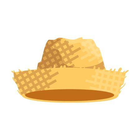 disegno dell'illustrazione di vettore del cappello di paglia del giardiniere maschio