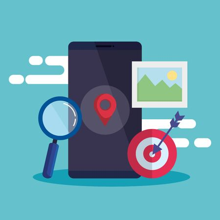 smartphone technology with location sign and magnifying glass vector illustration