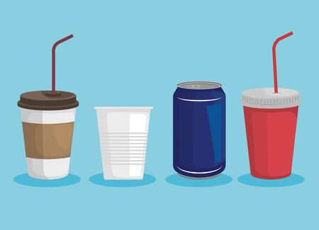 set of toxic plastic cups with can that ecology pollution vector illustration