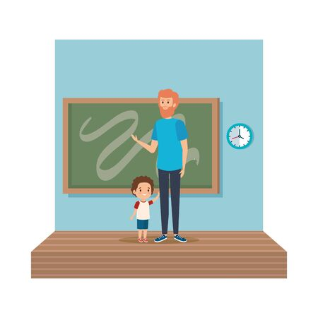 teacher male with schoolboy in classroom vector illustration design