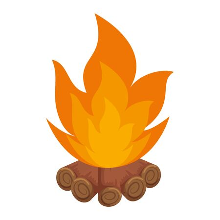wooden campfire isolated icon vector illustration design Çizim