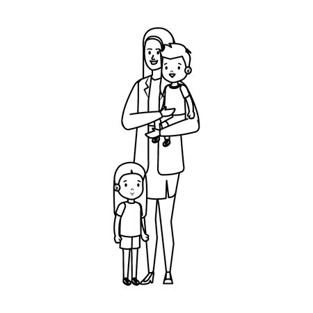mother with son and daughter characters vector illustration design