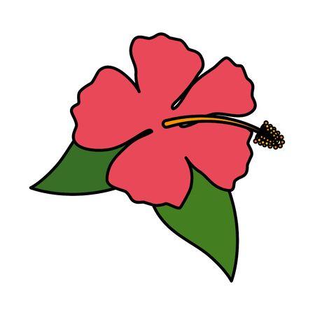 exotische tropische bloem en bladeren vectorillustratieontwerp