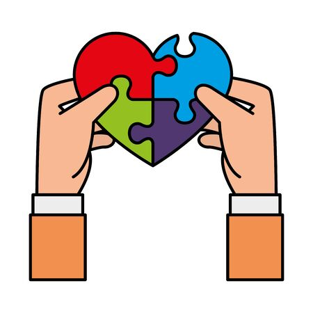 hands lifting heart with puzzle attached solution vector illustration design