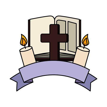 Sainte bible avec croix et bougie vector illustration design