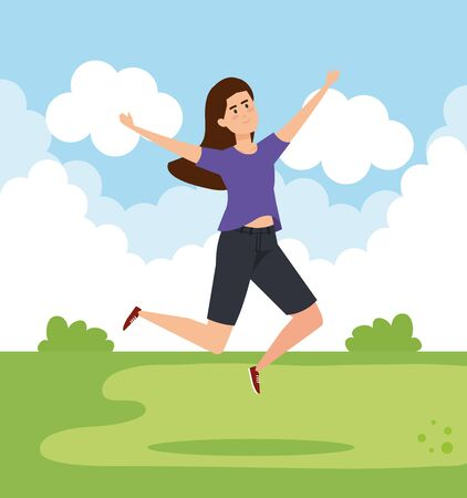 happy woman jumping with casual clothes vector illustration Ilustrace