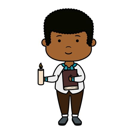 little black boy with bible and candle first communion vector illustration design