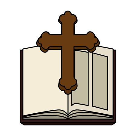holy bible with wooden cross vector illustration design