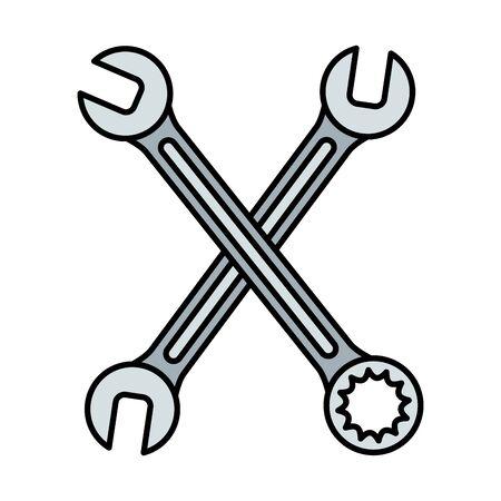wrench keys tools crossed vector illustration design