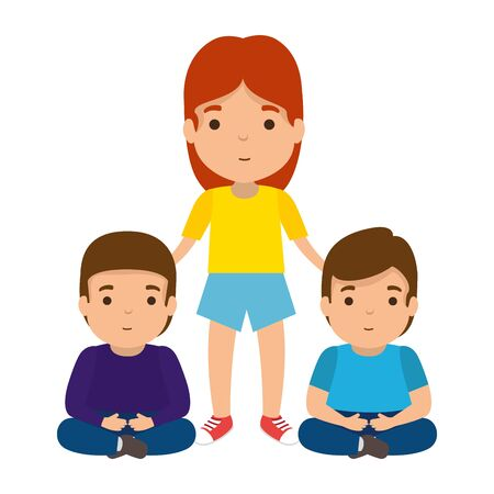 mother with sons characters vector illustration design