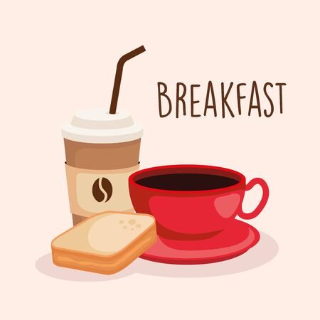 sliced bread with delicious coffee cup vector illustration