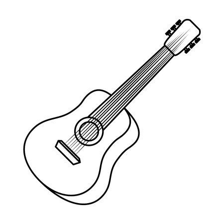 acoustic guitar musical instrument vector illustration design