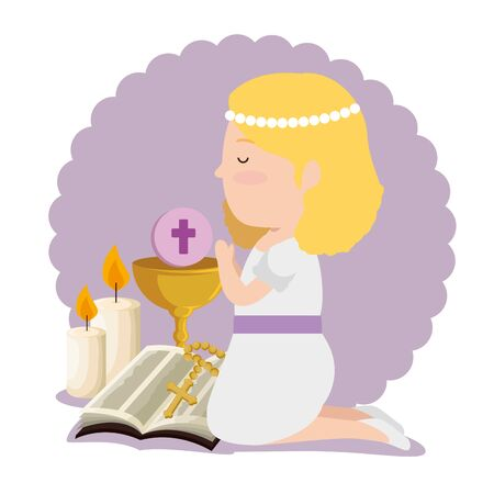 girl with dress and bible to first communion vector illustration