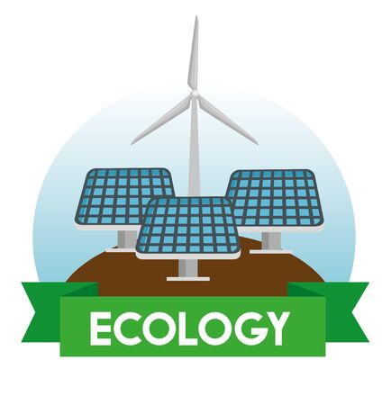 solar and wind energy to environment protection vector illustration