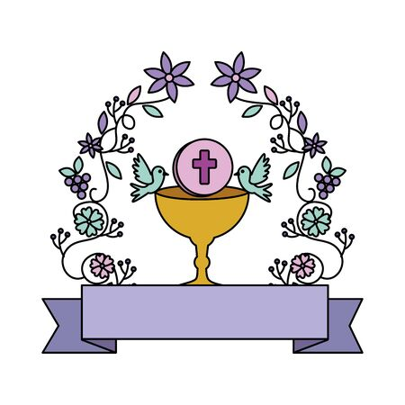 Erstkommunion im Kelch mit Blumenkronenvektor-Illustrationsdesign