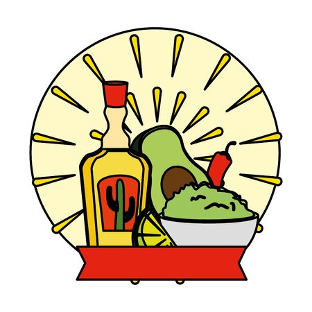 tequila bottle with guacamole and chili pepper vector illustration design Illustration