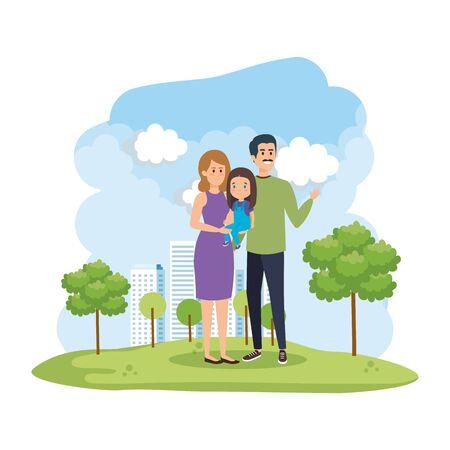 parents couple with daughter in the park scene vector illustration design Vektoros illusztráció
