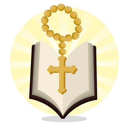 bible with rosary beads to catholic event vector illustration Illustration