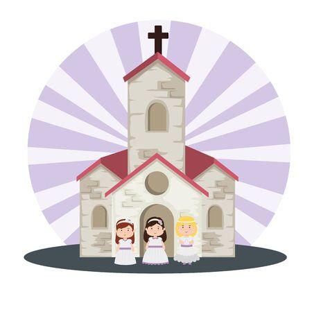 church and girls with dress to first communion vector illustration Векторная Иллюстрация