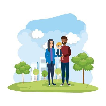 interracial parents couple with son in the park scene vector illustration design Stock Vector - 126316688