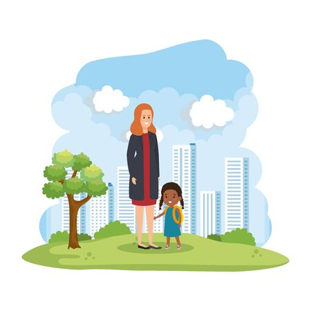 mother with little afro daughter in the park vector illustration design