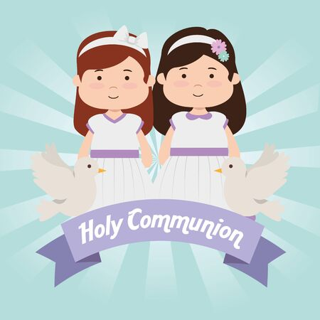 girsl with dress and doves to first communion vector illustration