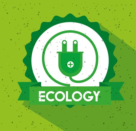 ecology label with power energy and ribbon vector illustration