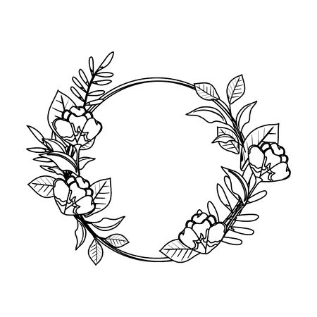 circular roses decoration icon vector illustration design Vectores